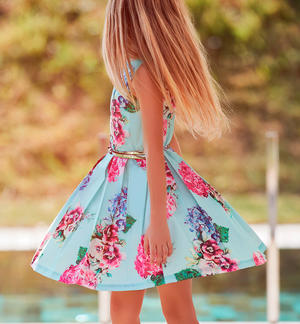 Elegant little dress for little girl with big roses finished with waist belt GREEN