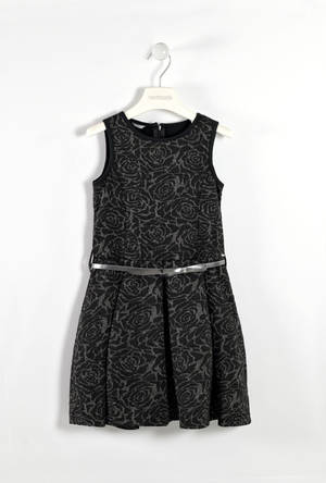 Refined  sleeveless dress with lurex yarn  BLACK