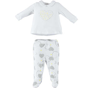Romantic and comfortable two-piece romper baby girl in cotton GREY