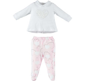 Romantic and comfortable two-piece romper baby girl in cotton PINK
