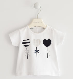 Romantic t-shirt with heart balloons WHITE