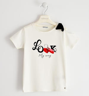 Romantic jersey t-shirt with bow
