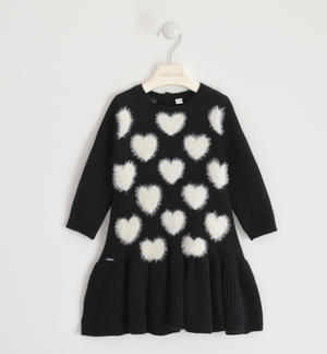 Romantic tricot dress with hearts