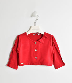 Girl's viscose shrug with three-quarter sleeves RED