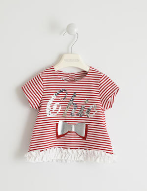 Special striped t-shirt with sequins RED