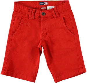 Boy's comfy short trousers in stretch cotton RED