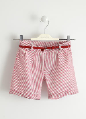 Girl's shorts with micro striped pattern RED