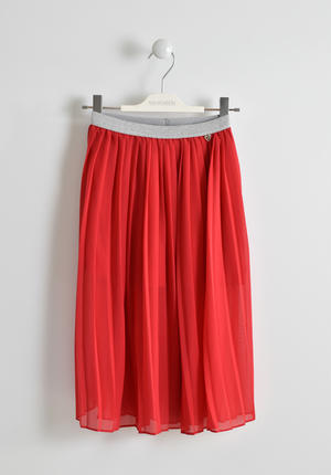 Red pleated long skirt with lurex elasticated waistband RED