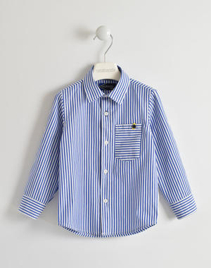 Elegant 100% cotton striped t-shirt BLUE
