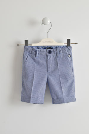 100% cotton short trousers with micro checks BLUE
