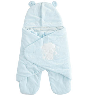 Devoré chenille Baby sleeping bag LIGHT BLUE