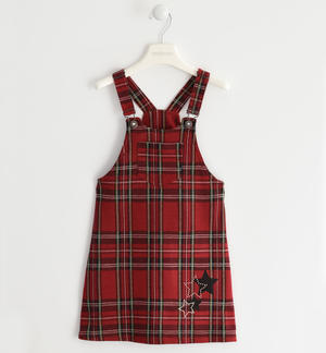 Dungarees dress with suspenders RED