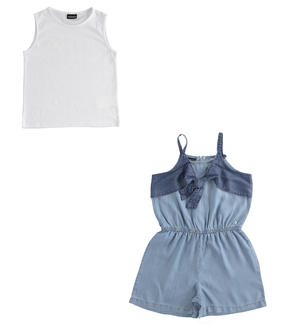 Short dungarees with T-shirt WHITE