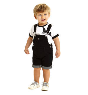 Short dungarees in special striped jersey BLACK