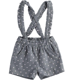 Short dungarees for newborn girl with hearts and polka dots