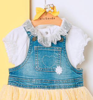 Denim salopette with yellow double flounce cotton skirt and tulle for baby girl BLUE