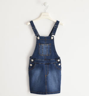 Denim dungarees with skirt BLUE