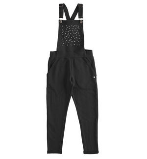 Fleece dungarees for girl with small studs BLACK