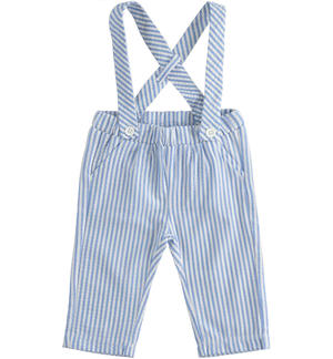 Newborn boy seersucker dungarees with removable suspenders BLUE