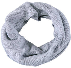 Neck warmer in cotton knit with slits GREY