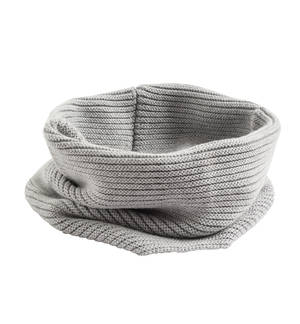 Knitted neck warmer in cotton/wool mix. GREY