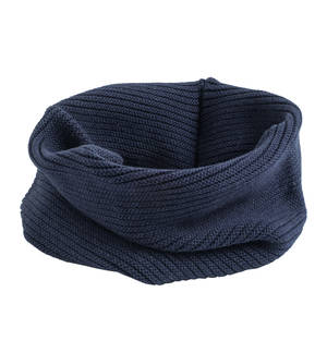 Knitted neck warmer in cotton/wool mix. BLUE