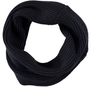 Knitted neck warmer in cotton/wool mix. BLACK
