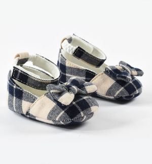Newborn girl shoes in check pattern fabric BEIGE