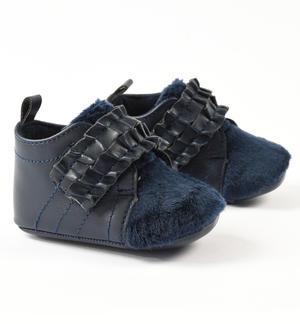 Newborn girl eco-leather shoes with ruffles BLUE