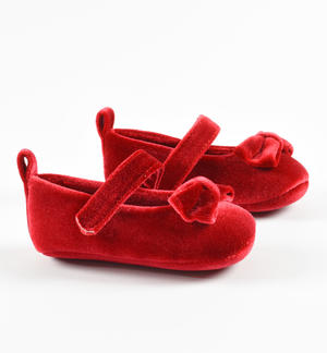 Newborn velvet ceremony shoes with bow and Velcro strap RED