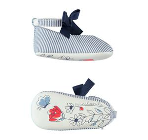 Baby girl shoes with micro-stripes and bow BLUE