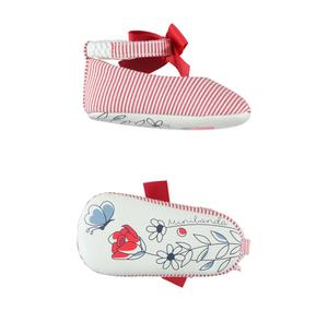 Baby girl shoes with micro-stripes and bow RED