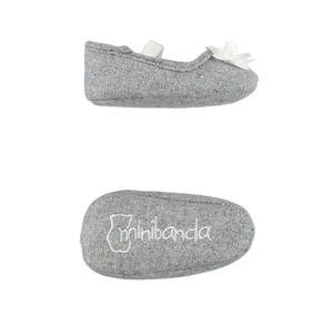 Lurex ballerina shoes with a chenille flower  GREY