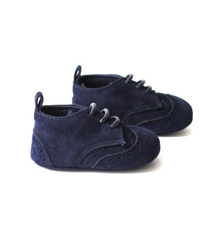 Faux leather newborn shoes for ceremony BLUE