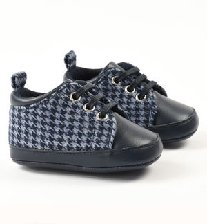 Newborn boy shoes in eco-leather and houndstooth fabric