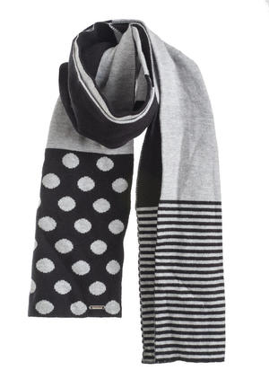Stripes and polka dots scarf  GREY