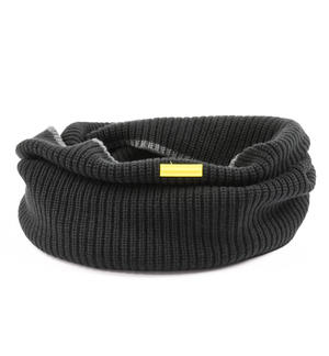 Ribbed ring scarf BLACK