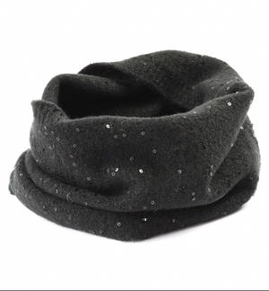 Ring scarf with micro sequins BLACK