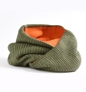 Ribbed knit ring scarf GREEN