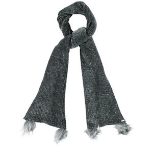 Chenille scarf with pompom details  GREY