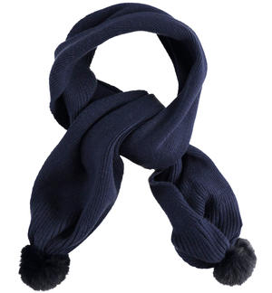 Soft tricot scarf with faux fur pompom BLUE