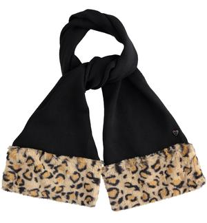 Tricot scarf Sarabanda finished at the bottom in animalier faux fur BLACK