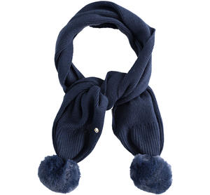 Tricot scarf with double faux fur pompon BLUE