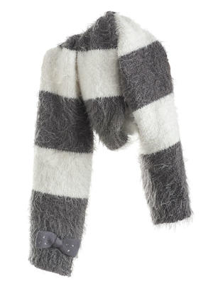 Fur effect lurex tricot scarf  GREY