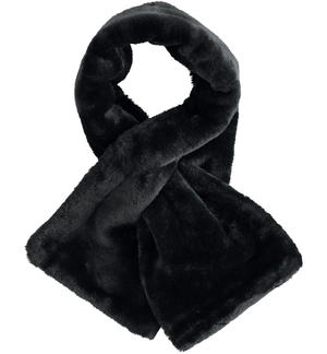 Crossed scarf made of faux fur BLACK