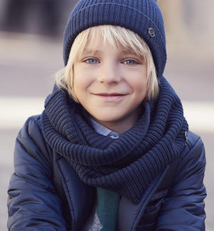 Wide ribbed neck warmer scarf   BLUE