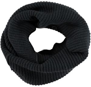 Wide ribbed neck warmer scarf   BLACK