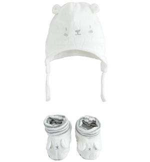 Baby unisex set with slippers and devorè chenille cap CREAM