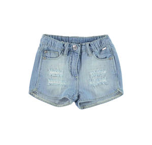 100% cotton denim shorts with rips and rhinestones for girls BLUE