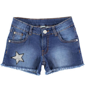 Denim shorts with sequin star BLUE